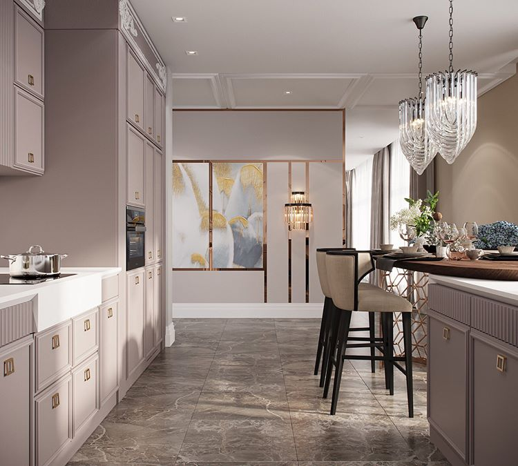 Brown marble neutral beige lilac purple kitchen cabinetry cabinets island modern small apartment condo decor ideas shop room ideas glass