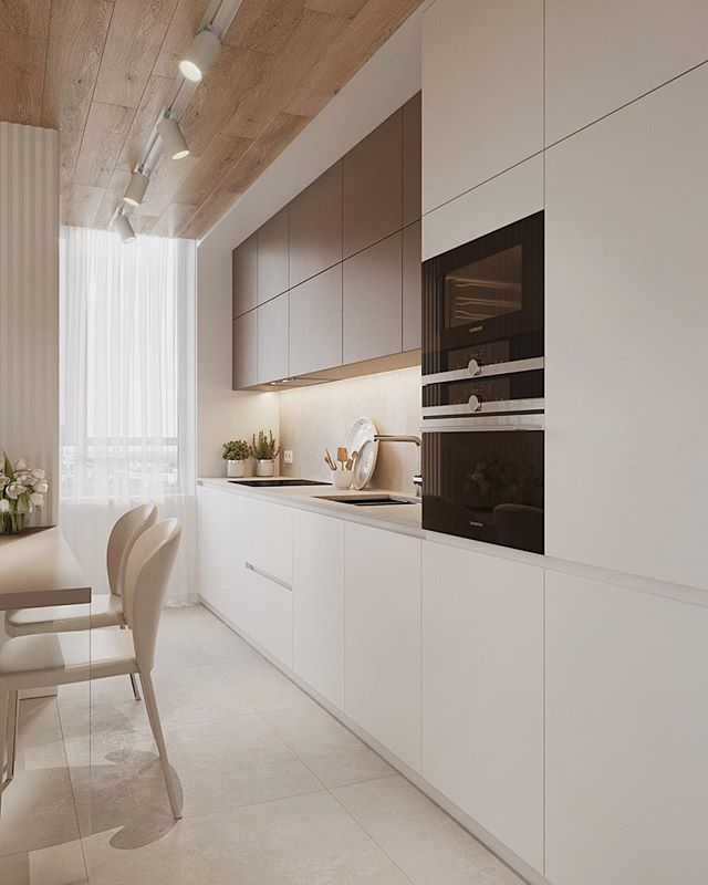 beige neutral kitchen wood plank panel ceiling design idea modern small condo ideas brown warm tone island shop room ideas