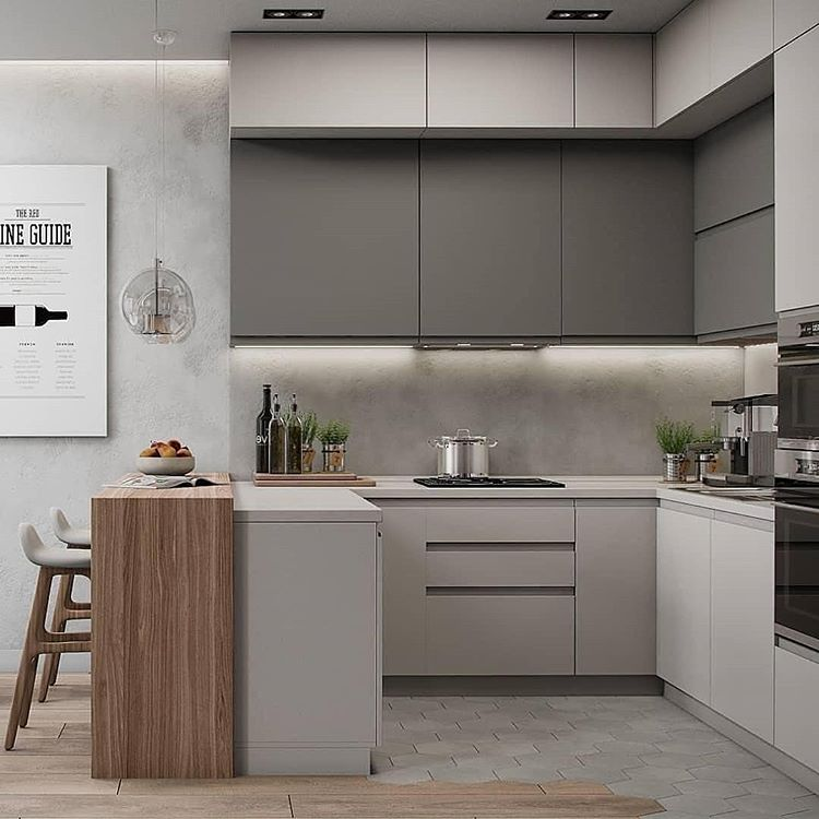 Beige Small Kitchen Apartment Condo Ideas Room White And Gray Grey Wood Island Modern Contemporary Ikea