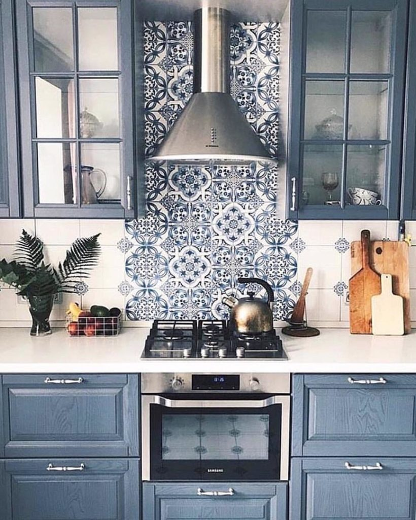 blue kitchen cabinet cupboard color ideas morroccan backsplash country farmhouse traditional kitchen