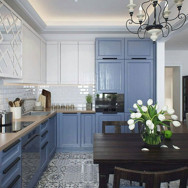 blue modern small condo apartment kitchen shop room ideas dark black dining table set urban modern farmhouse design