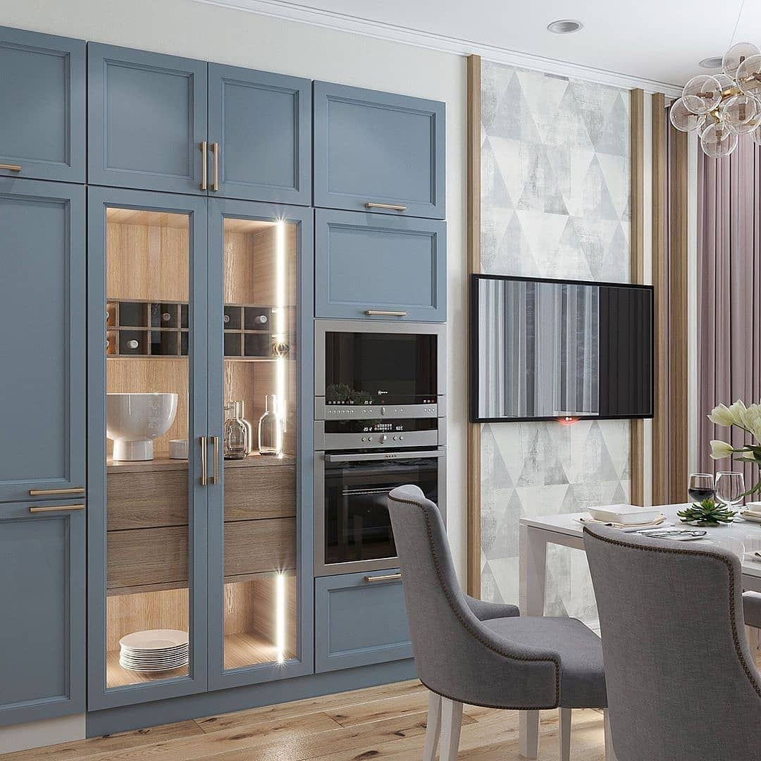 Room Ideas Blue Wood Kitchen Cupboard Color Palette Modern Wall Unit Gl Door Built
