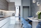 marble blue small kitchen ideas condo russian home interior design style white and wood cabinets glam luxury modern tiny kitchenette