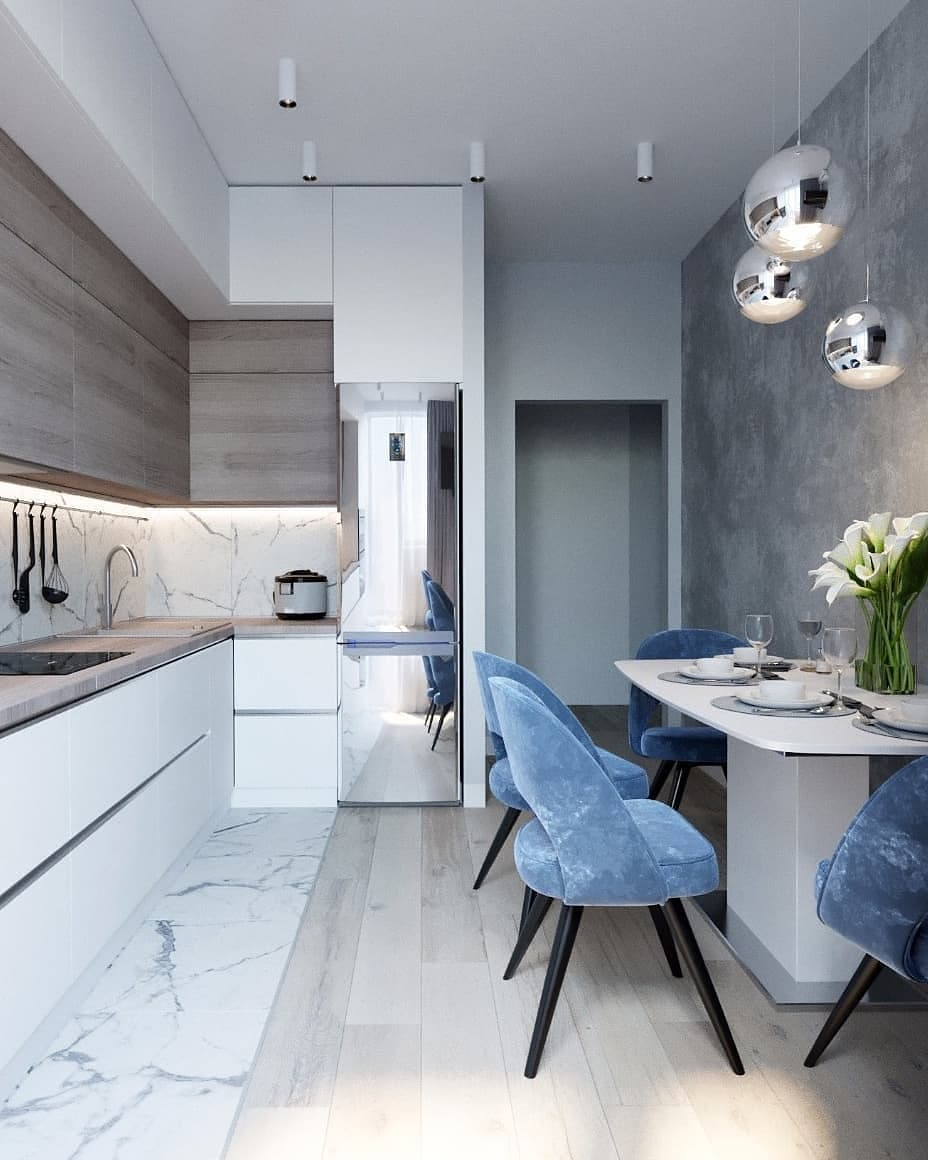 Kitchen Interior Design Jobs: Marble Blue Small Kitchen Ideas Condo Russian Home Interior Design Style White And Wood Cabinets