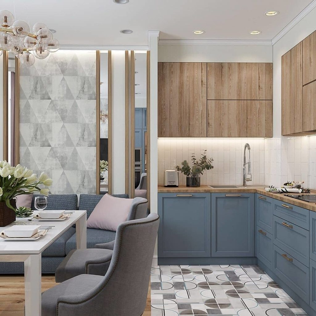 cute open concept blue and wood kitchen cabinets condo small tiny kitchen kitchenette ideas small spaces geometric tile modern glam