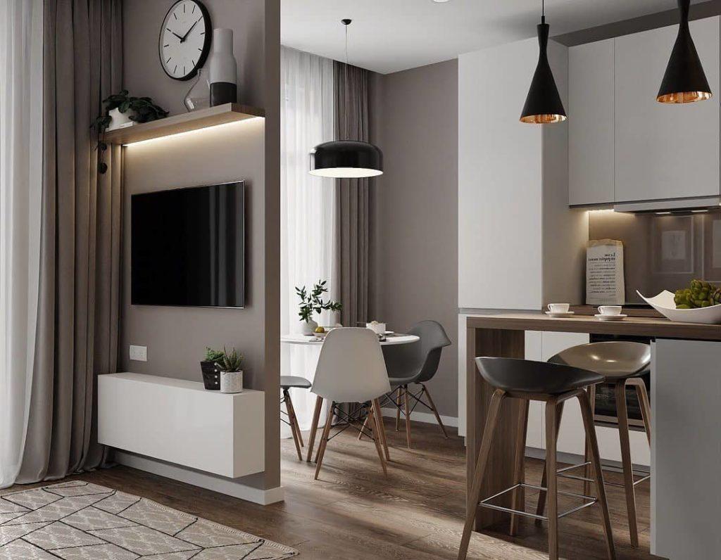 small apartment open concept floor plan ideas kitchen island modern beige neutral brown apartment style ideas cute feminine