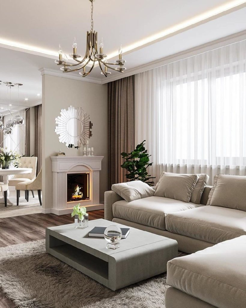 beige neutral white open concept apartment floor plan l section couch sofa style ideas small spaces