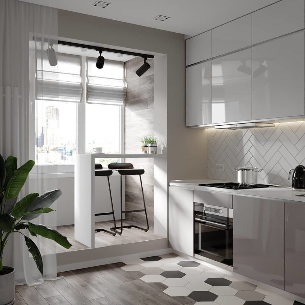 small kitchen apartment condo style floor plan ideas kitchenette gray grey white beige neutral cabinets flooring hexagon tiles
